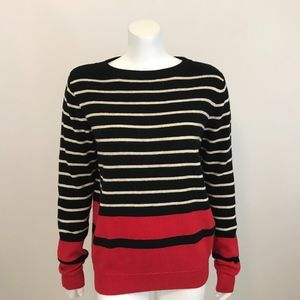 THML Black Red Striped Pullover Sweater M